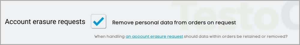 Account erasure requests testochecker
