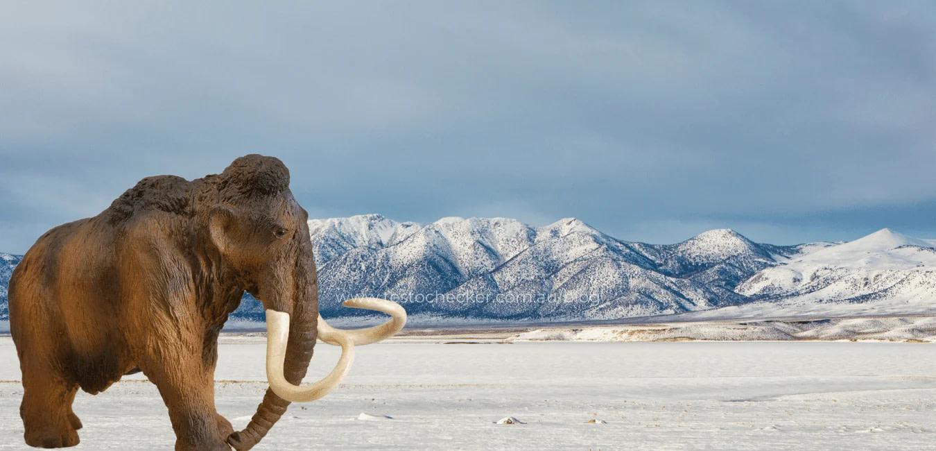 Male Mammoth wonders the baron plains